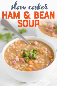 Affordable, delicious, and nourishing, these Slow Cooker Ham and Beans are the perfect pantry meal to always have in your back pocket. Ham And Beans, Ham And Bean Soup, Beans Beans, Refried Beans, Best Dinner Recipes, Healthy Eating Recipes, Delicious Recipes, Slow Cooker Recipes, Crockpot Recipes