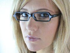 Vintage 60's French Black Horn Minimalist Cat Eyeglasses Frames