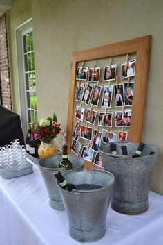 photo display in frame + wine