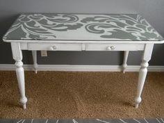Big, bold painted design under a glass desktop. Love! #furniture