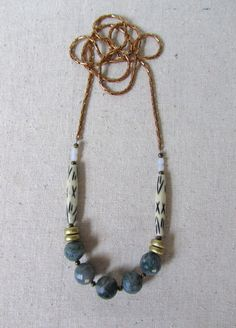 Moss Agate Necklace Bohemian Statement Necklace Long by mintlilly, $42.00