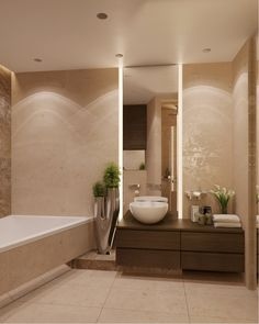 Modern but Earthy and Natural with timbers and marble tiles.
