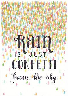 Rain is just confetti from the sky, illustration by Sanny van Loon. rain | confetti | quote | watercolor | ink  www.sannyvanloon.com