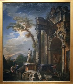 Giovanni Paolo Panini Italian, 1691-1765 Oil on canvas  Ruins of a Triumphal Arch in the Roman Campagna, arches like this are still standing all over the former Roman Empire.  I like these old paintings of Roman ruins, giving us a somewhat accurate look as things were in 1718.