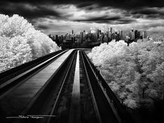 Vancouver Skyline from Skytrain in Infrared Photo - Sharon Tenenbaum, Fine Art Photography