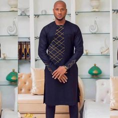 2 piece African men light brocade african dress, dashiki embroidery african men clothes, africa mens outfit tops pants set - All About African Shirts For Men, African Dresses Men, African Attire For Men, African Wear, African Clothes, African Male Dress, African Suits, African Style, Nigerian Men Fashion