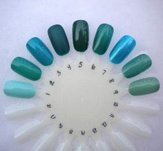 1. Essie Mint Candy Apple 2. Sally Hansen Mint Sprint 3. Milani Fresh Teal 4. L.A. Girl Matte Alpine Green 5. Essie Going Incognito 6. Ulta Tainted Love 7. Orly Halley's Comet 8. (Franken) 9. OPI Mermaid's Tears blue green nail polish Below Freezing Beauty: Swatches in the Snow
