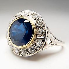 1930 ART DECO BLUE SAPPHIRE & DIAMOND HALO ENGAGEMENT RING