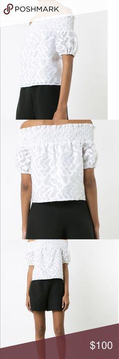 Zac Posen Off-Shoulder Jacquard Top WHITE Women Zac Posen Off-Shoulder Jacquard Top WHITE Women Clothing Blouses, Zac Posen Tops