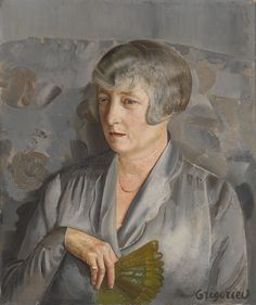 Portrait of Madame Barthelemy with a Green Fan by Boris Grigoriev (Russian, 1886 - 1939)