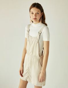 Tencel® pinafore dress - Bershka #fashion #product #newin #white #blanco #shades #moda #outfit #ideas #inspiration #cool #trend #trendy #spring #summer #collection #vestido #tencel #peto