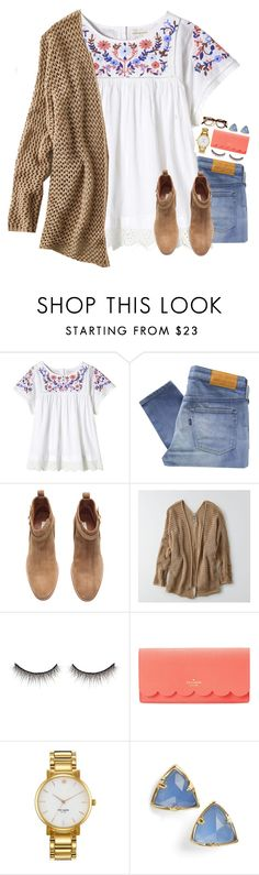 """""""Got my wisdom teeth out today"""" by thedancersophie ❤ liked on Polyvore featuring Rebecca Taylor, Levi's Made & Crafted, H&M, American Eagle Outfitters, shu uemura, Kate Spade and Kendra Scott"""
