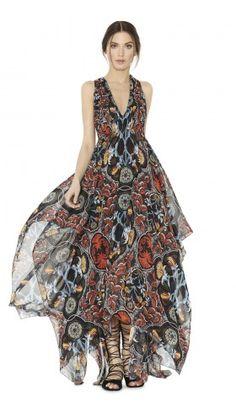 KORA DEEP V GATHERED HANDKERCHIEF DRESS   Alice + Olivia   Apparel & Accessories > Clothing > Dresses > Cocktail Dresses