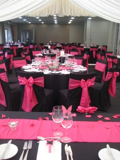 Pink And Black Wedding Chair Covers With Toile Table Overlay