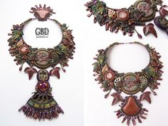 Art deco-style beaded statement necklace (Fall Forest Dragon)