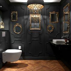 32 Small Bathroom Design Ideas for Every Taste - The Trending House Bad Inspiration, Bathroom Inspiration, Decoration Restaurant, Dark Interiors, Small Bathroom, Bathroom Black, Gothic Bathroom, Small Toilet Room, Dark Bathrooms