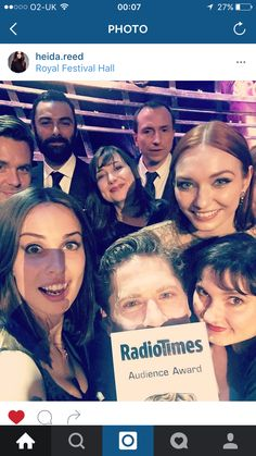 Poldark Cast Celebrating Their Radio Times Audience Award At Baftas. Picture from Heida Reed Instagram