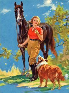 1937 Rare B&B Hy Hintermeister Equestrian Pin-Up Calendar Sample Flapper & Horse Vintage Horse, Vintage Art, Vintage Cowgirl, Flapper, Horse Illustration, Arte Pop, Equine Art, Pulp Art, Illustrations And Posters