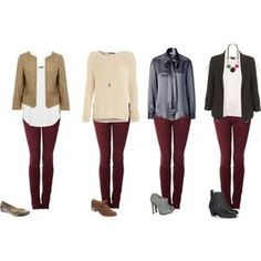 Burgundy jeans outfits