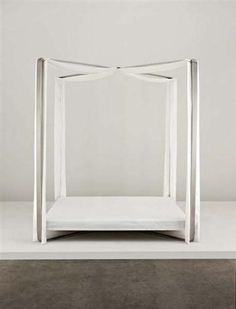 Maria Pergay; Brushed and Polished Stainless Steel, Painted Metal and Fabric Bed for Maison Jansen, c1970.