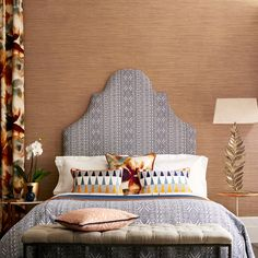 Buy Steel 111440 Harlequin Tresillo Oralia Wallpaper from our Wallpaper range at John Lewis & Partners. Classic Interior, Home Interior, Master Bedroom, Bedroom Decor, Sleep Late, Color Me Beautiful, Beautiful Homes, Headboard Designs, Home Design