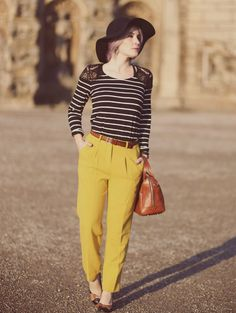 Fall Style, Fall Fashion, Autumn Outfit, Herbstlook, pastel hair, Fashion Blog,Yellow Pants, Retro Look