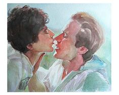 Call me by your name, Elio and Oliver gay romance watercolor giclee print. Gay Couple, Gay Romance, Name Drawings, Name Paintings, I Call You, Name Art, Your Name, Romantic, Watercolor