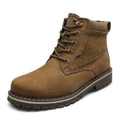Plus Size Winter Genuine Leather Ankle Boots Men European Waterproof Nubuck Leather Boots Warm Work Boots With Fur Ankle Boots Men, Fur Boots, Leather Ankle Boots, Leather Men, Shoe Boots, Suede Leather, Combat Boots, Cheap Snow Boots, Warm Snow Boots
