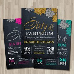 Woman in - - - - Birthday Party Invitation / DIY / Chalkboard Theme Invitation 40th Birthday Party For Women, 40th Party Ideas, 40th Bday Ideas, 30th Birthday Parties, 70th Birthday, Birthday Wishes, Birthday Cards, Printable Invitations, Birthday Invitations
