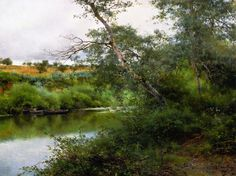 The Athenaeum - A Orillas del rio, Alcala (Emilio Sanchez-Perrier - ) Green Landscape, Landscape Art, Landscape Paintings, Vancouver Art Gallery, Value In Art, Summer Painting, Russian Painting, Walk In The Woods, Natural Scenery