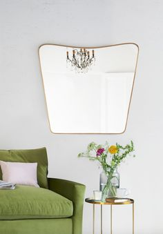 A gorgeous curved brass wall mirror - finally! In a vintage-y colour and at the right price it's the perfect piece of Art Deco cool. Brass Mirror, Mirrors, Welcome Spring, Spring Has Sprung, Spring Green, Home Living Room, Playroom, Art Pieces, Sweet Home