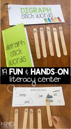 DIGRAPH STICK WORDS are an a fun break from the worksheets! This interactive center includes 20 activity cards with two differentiated versions. A tracker booklet is includes, too, so students can monitor and celebrate their progress. $