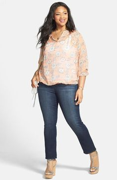 d83456b17df66 Lucky Brand Silk Peasant Blouse  amp  Straight Leg Jeans (Plus Size)  available at