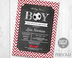 Soccer Baby Shower Invitation It's a Boy Football by wowwowmeow