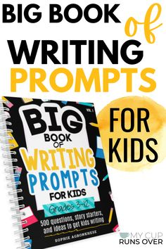 Need writing prompts for homeschool or classroom? Check out the Big Book of Writing Prompts for kids - 500 writing prompts guaranteed to get kids writing! The prompts are broken into three sections - grades 3-5, 6-8, and 9-12, though many can be used with other age groups. The book also features 5 types of writing prompts to meet every need. Check it out today! Writing Prompts | Journal | Creative | For kids | Story Starters | Funny | Fiction | Npn-Fiction | Essays | Teens High School Writing Prompts, Creative Writing Classes, Creative Writing Prompts, Writing Assignments, Cool Writing, Writing Lessons, Writing Poetry, Kids Writing, Writing Skills