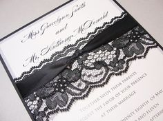 Momma D also really likes this one :)  LAURA Black Lace Wedding Invitation by LavenderPaperie1