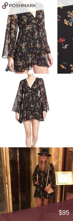 """Free People 'Lilou' Floral Print Minidress A slender tie belt cinches the waist of a breezy minidress styled with a plunging surplice neckline, airy bell sleeves and a leg-flaunting hem. 32 1/2"""" length (size Medium). Hidden side-zip closure. Plunging neck. Bell sleeves. Tie belt. Lined. 100% polyester. Hand wash cold, line dry. By Free People; imported. t.b.d. Worn once in excellent condition. Dry cleaned. Size medium. Free People Dresses Mini"""
