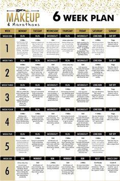Six Week Half Marathon Training Plan - Makeup & Marathons - Fitness Marathon Training Plan Beginner, Weight Training Schedule, Running Training Plan, Training Fitness, Workout Fitness, Training Tips, Training Equipment, Strength Training, Running Plans