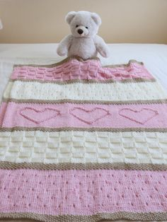 Baby Blanket with hearts knitting pattern $6.00, easy project in worsted weight…