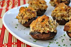 A FAVORITE - Sausage Stuffed Mushrooms - with cream cheese and parmesan. It's really a good, simple recipe. I got big stuffing mushrooms for it - made it easy. Also cut the amount of cream cheese in half.