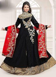 Shop Online Black Bhagalpuri Silk #AchkanSalwarSuit @Chennaistore.com