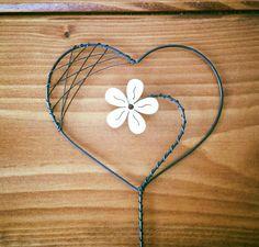 Zápich srdce - dřevěná květina