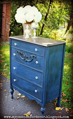 "Dresser in Annie Sloan Chalk Paint: Napoleonic Blue. ""It's a navy blue, but with a bit more royal blue hues in the paint. I love this color. It's so classic, timeless and rich looking."" By Melody Smith at ""My Passion for Decor"" blog."