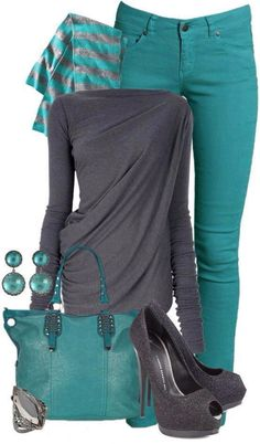 Gray & Teal - love the shape of the top