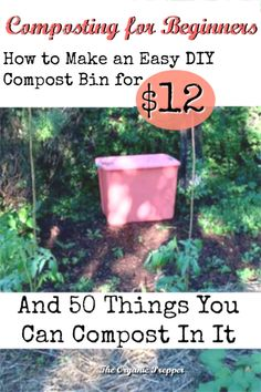 Composting for Beginners - The Organic Prepper Here's how to make a super-easy DIY compost bin for o Making A Compost Bin, Kitchen Compost Bin, Compost Soil, Garden Compost, Diy Compost Bin, Compost Container, Garden Pests, Outdoor Compost Bin, Gardens