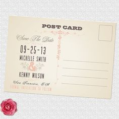 Vintage save the date wedding postcard by ElleOL on Etsy, $19.00