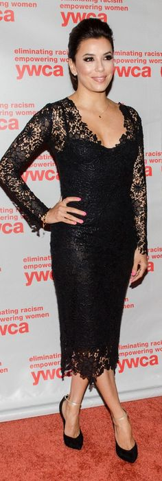 Who made  Eva Longoria's black long sleeve lace dress, scallop lace skirt, and black suede pumps that she wore in Washington D.C. on June 7, 2013?