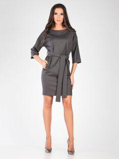 Ženska Elegantna Obleka CARLA BY ROZARANCIO #dress #pocket #belt #silver #fashion #long_sleeve #women_fashion