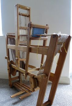 Many years ago, I bought a four shaft, four treadle band loom. It was made by Michael Crompton a tapestry weaver. You can find out more abo. Pin Weaving, Inkle Weaving, Weaving Tools, Inkle Loom, Tablet Weaving Patterns, Weaving Textiles, Exhibition Room, New Staircase, Loom Craft