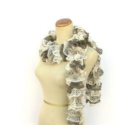 Hand Knit Ruffled Scarf   Brown Tan Cream White by ArlenesBoutique, $28.95